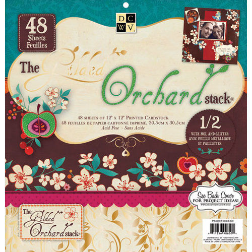 Die Cuts with a View - Gilded Orchard Collection - Foil and Glitter Paper Stack - 12 x 12