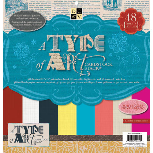 Die Cuts with a View - A Type of Art Collection - Glitter Metallic and Textured Solid Cardstock Stack - 12 x 12