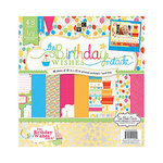 Die Cuts with a View - Birthday Wishes Collection - Foil and Glitter Paper Stack - 12 x 12