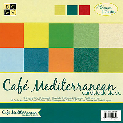 Die Cuts with a View - Cafe Mediterranean Collection - Glitter and Metallic Solid Cardstock Stack - 12 x 12