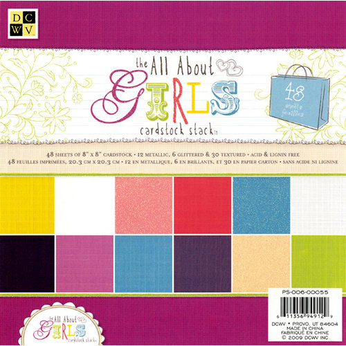 Die Cuts with a View - The All About Girls Collection - Glitter Cardstock Stack - 8 x 8
