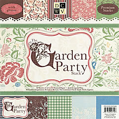 Die Cuts with a View - Garden Party Collection - Glitter Paper Stack - 12 x 12, CLEARANCE