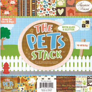 Die Cuts With A View - Pets Collection - Glitter Paper Stack - 12x12