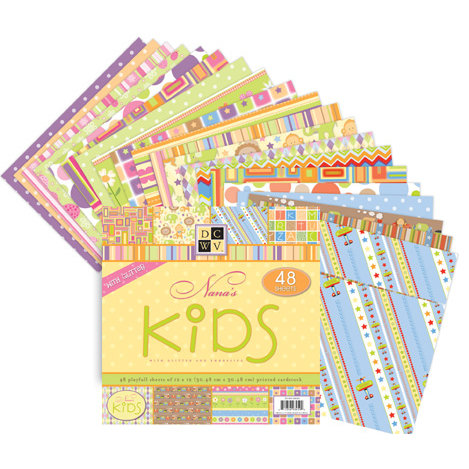 Die Cuts with a View - Nana's Kids Collection - 8x8 Paper Stack with Glitter and Embossing