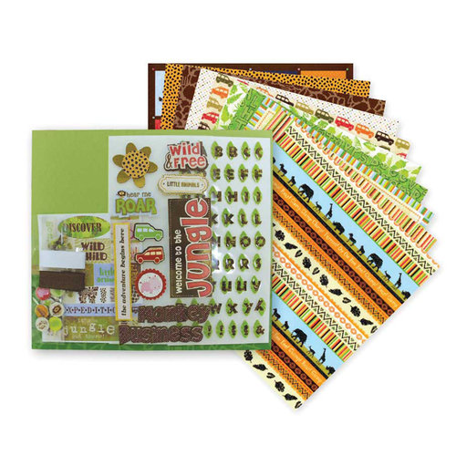 Die Cuts with a View - Safari Kids Collection - 8 x 8 Scrapbook Album Kit