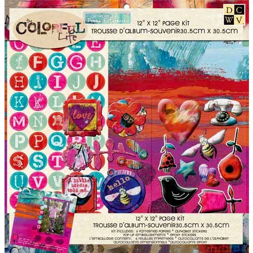 Die Cuts with a View - The Colorful Life Collection - 12 x 12 Page Kit with Glitter Accents