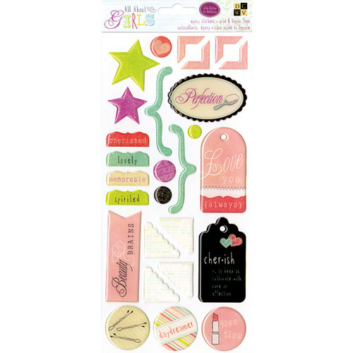 Die Cuts with a View - The All About Girls Collection - Epoxy Stickers - Icons with Glitter