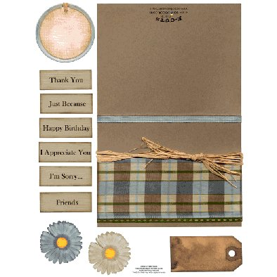 E-Cuts Cards (Download and Print) Blue Brown Plaid