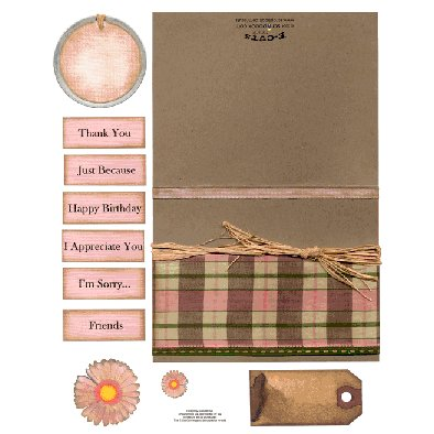 E-Cuts Cards (Download and Print) Pink Brown Plaid