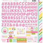 Echo Park - Birthday Collection - Girl - 12 x 12 Cardstock Stickers - Alphabet