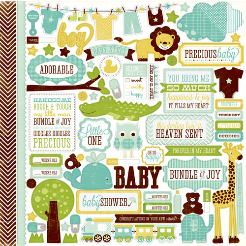 Echo Park - Bundle of Joy Collection - Boy - 12 x 12 Cardstock Stickers - Elements