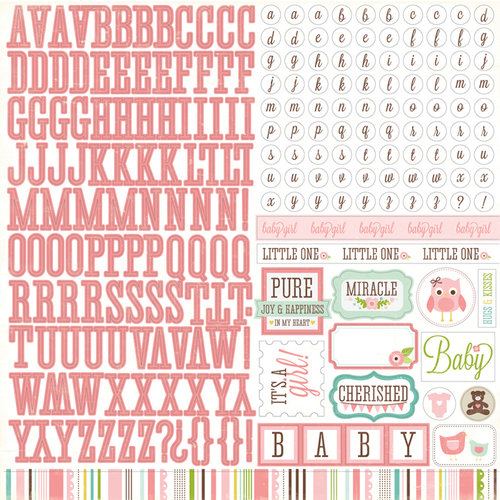 Echo Park - Bundle of Joy Collection - Girl - 12 x 12 Cardstock Stickers - Alphabet