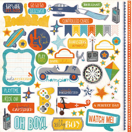 Echo Park - A Boy's Life Collection - 12 x 12 Cardstock Stickers - Elements
