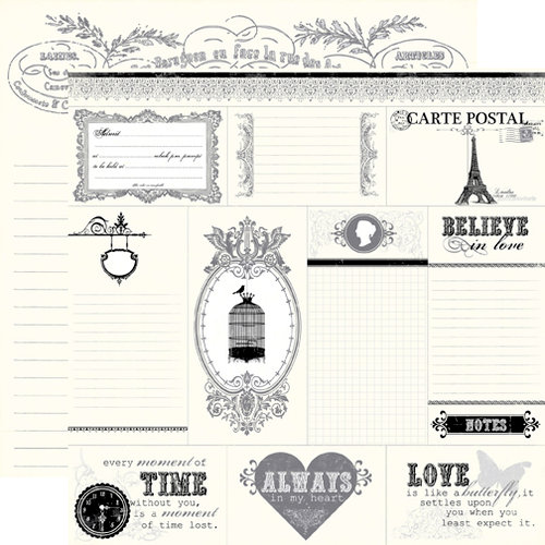 Echo Park - Be Mine Collection - Valentine - 12 x 12 Double Sided Paper - French Chronicle