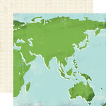 Carta Bella - Travel Stories Collection - 12 x 12 Double Sided Paper - World Map