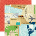 Carta Bella - Travel Stories Collection - 12 x 12 Double Sided Paper - Post Card
