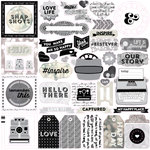 Echo Park - Capture Life Collection - Black and White - 12 x 12 Cardstock Stickers - Elements