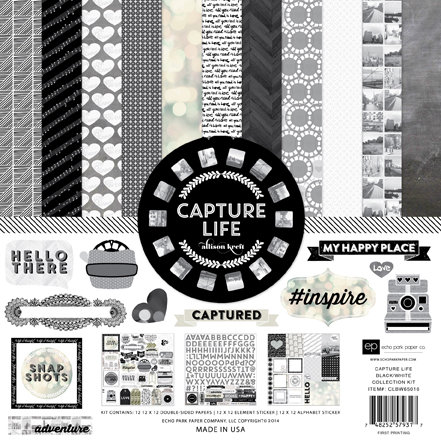 Echo Park - Capture Life Collection - Black and White - 12 x 12 Collection Kit