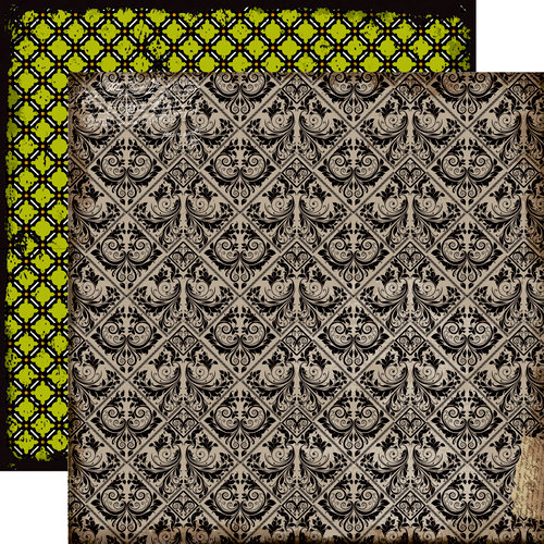 Echo Park - Chillingsworth Manor Collection - Halloween - 12 x 12 Double Sided Paper - Grey Damask