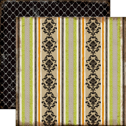 Echo Park - Chillingsworth Manor Collection - Halloween - 12 x 12 Double Sided Paper - Damask Stripe