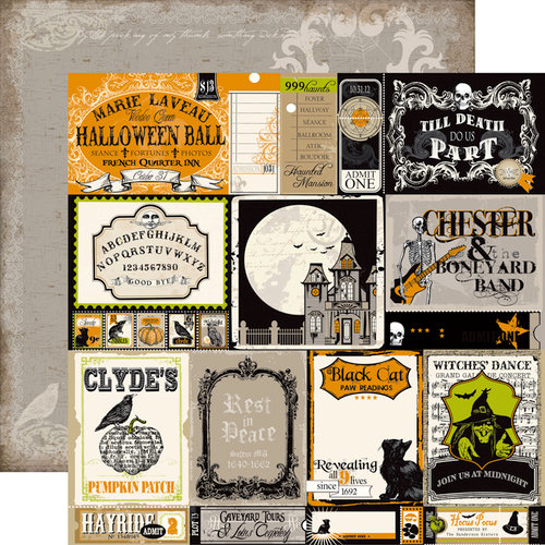 Echo Park - Chillingsworth Manor Collection - Halloween - 12 x 12 Double Sided Paper - Posters and Tickets