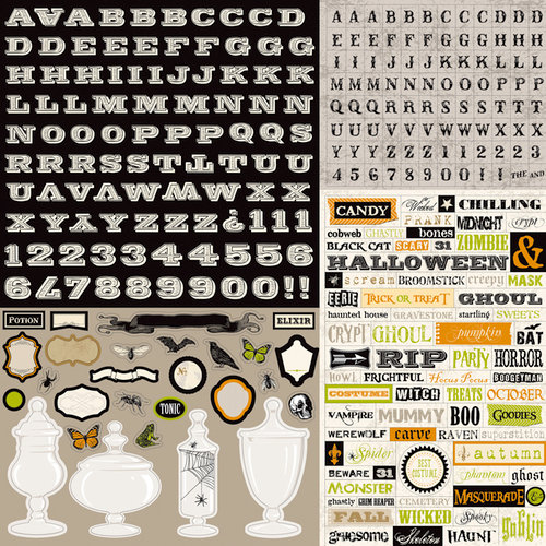 Echo Park - Chillingsworth Manor Collection - Halloween - 12 x 12 Cardstock Stickers - Alphabet