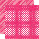 Echo Park - Dots and Stripes Collection - Brights - 12 x 12 Double Sided Paper - Hot Pink