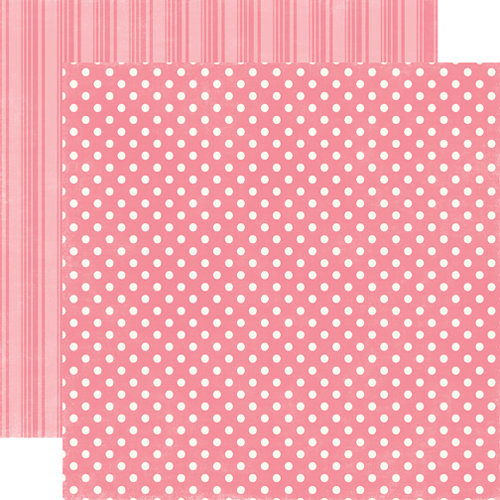 Echo Park - Candy Shoppe Dots and Stripes Collection - 12 x 12 Double Sided Paper - Bubblegum Small Dot
