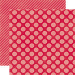 Echo Park - Christmas Dots and Stripes Collection - 12 x 12 Double Sided Paper - Holly Berry Large Dot