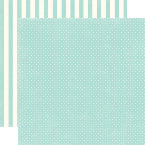 Echo Park - Homefront Dots and Stripes Collection - 12 x 12 Double Sided Paper - Robin's Egg Tiny Dot