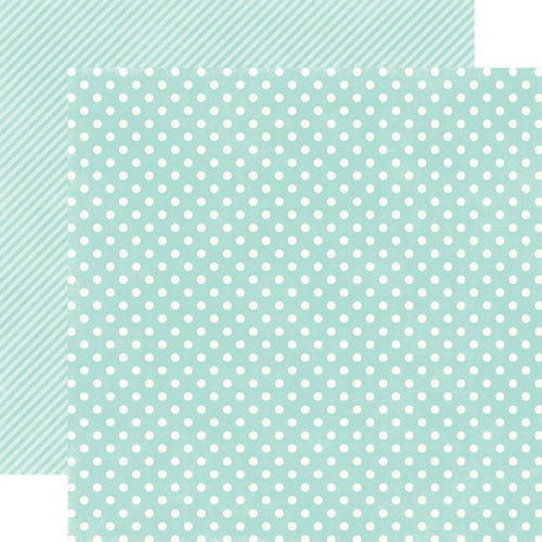 Echo Park - Homefront Dots and Stripes Collection - 12 x 12 Double Sided Paper - Robin's Egg Small Dot