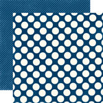 Echo Park - Metropolitan Dots and Stripes Collection - 12 x 12 Double Sided Paper - Navy Large Dot
