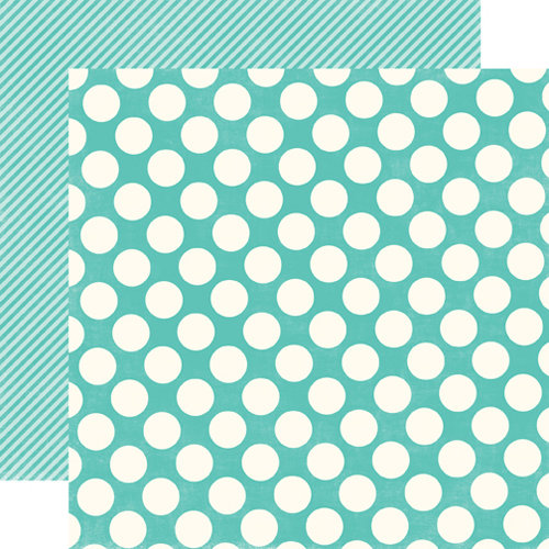 Echo Park - Metropolitan Dots and Stripes Collection - 12 x 12 Double Sided Paper - Teal Large Dot