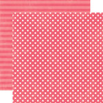 Echo Park - Neapolitan Dots and Stripes Collection - 12 x 12 Double Sided Paper - Very Cherry Small Dot