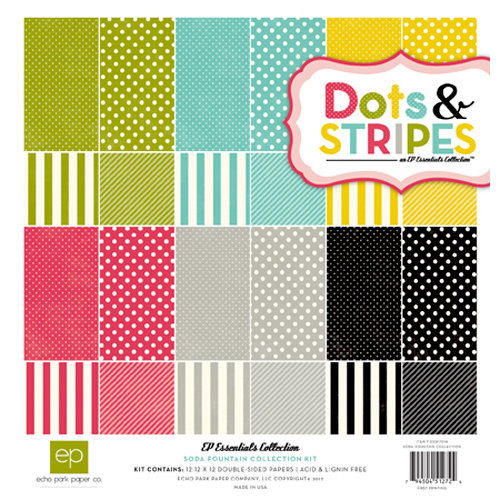 Echo Park - Soda Fountain Dots and Stripes Collection - 12 x 12 Collection Kit