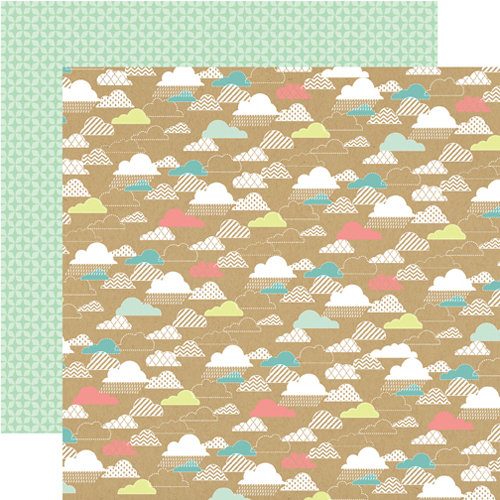 Echo Park - Everyday Eclectic Collection - 12 x 12 Double Sided Paper - Kraft Clouds