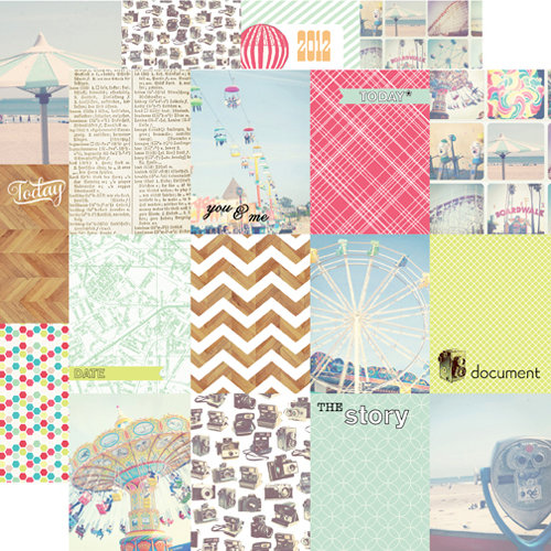 Echo Park - Everyday Eclectic Collection - 12 x 12 Double Sided Paper - Journaling Cards