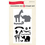Echo Park - Children Collection - Designer Die and Clear Acrylic Stamp Set - At the Zoo