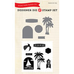 Echo Park - Walking On Sunshine Collection - Designer Die and Clear Acrylic Stamp Set - Splish Splash