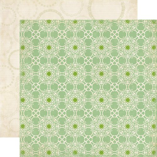 Echo Park - For the Record 2 Collection - Tailored - 12 x 12 Double Sided Paper - Green Lace