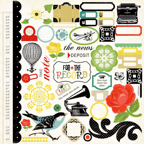 Echo Park - For The Record Collection - 12 x 12 Cardstock Stickers - Elements