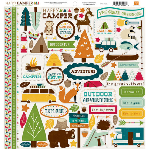 Echo Park - Happy Camper Collection - 12 x 12 Cardstock Stickers - Elements