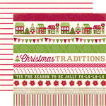 Echo Park - Home for the Holidays Collection - Christmas - 12 x 12 Double Sided Paper - Border Strips
