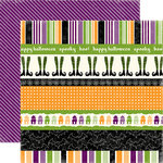 Echo Park - Happy Halloween Collection - 12 x 12 Double Sided Paper - Halloween Border Strip