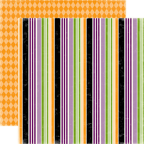 Echo Park - Happy Halloween Collection - 12 x 12 Double Sided Paper - Magic Stripes, CLEARANCE