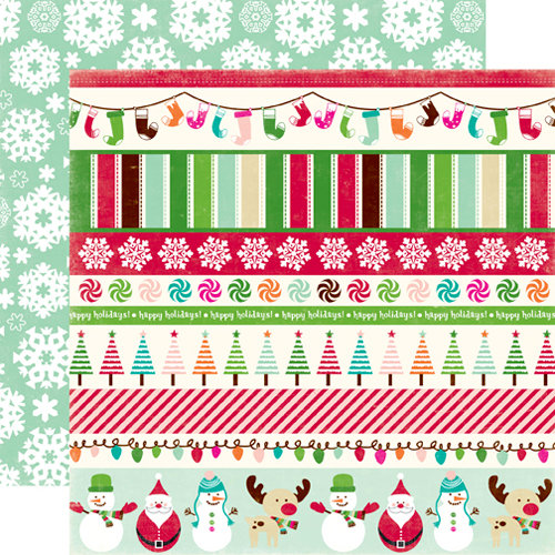 Echo Park - Holly Jolly Christmas Collection - 12 x 12 Double Sided Paper - Jolly Border Strips