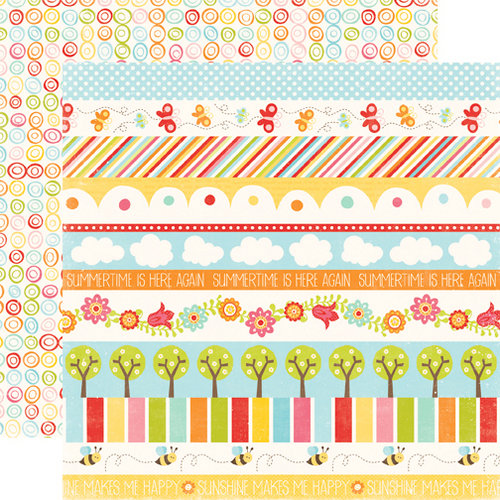 Echo Park - Hello Summer Collection - 12 x 12 Double Sided Paper - Borders