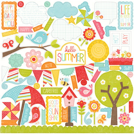 Echo Park - Hello Summer Collection - 12 x 12 Cardstock Stickers - Elements