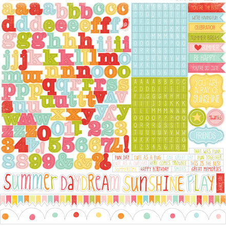 Echo Park - Hello Summer Collection - 12 x 12 Cardstock Stickers - Alphabet