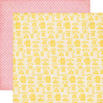 Echo Park - Jack and Jill Collection - Girl - 12 x 12 Double Sided Paper - Yellow Telephones